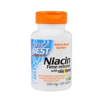 НИАЦИН с удължено освобождаване 500мг 120 таблетки ДОКТОРС БЕСТ I NIACIN Time releace with Niaxtend 500mg 120 tabs DOCTOR'S BEST