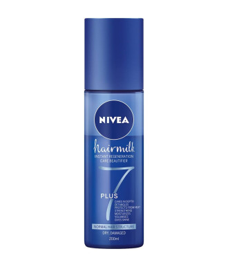 НИВЕА ХЕЪРМИЛК 7 ПЛЮС Спрей балсам без отмиване за нормално плътна, суха и увредена коса 200мл | NIVEA HAIRMILK 7 PLUS Care spray treatment for normal hairstructure, dry and damaged hair 200ml