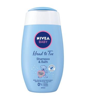 НИВЕА БЕБЕ ОТ ГЛАВА ДО ПЕТИ Нежен шампоан за коса и тяло 200мл | NIVEA BABY HEAD TO TOE Shampoo & bath 200ml