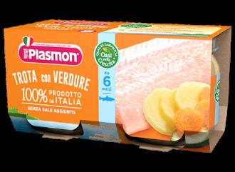 ПЛАЗМОН Пюре Пъстърва и зеленчуци 6+ 2x80гр   PLASMON Trota con verdure 6+ 2x80g