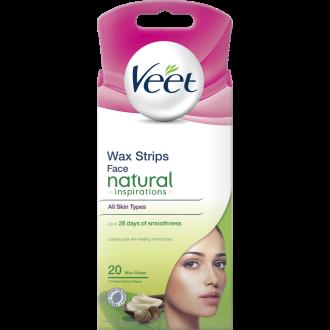 ВИЙТ Депилиращи ленти за лице Нейчър 20бр   VEET Hair removing Face strips Nature 20s