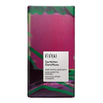 БИО Натурален Шоколад с цели Лешници 100гр ВИВАНИ | BIO Dark Chocolate with whole Hazelnuts 100g VIVANI