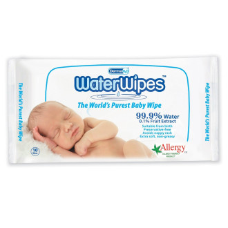 Мокри кърпи с 99.9% вода 10бр УОТЪР УАЙПС | Wet wipes with 99.9% water 10s WATER WIPES
