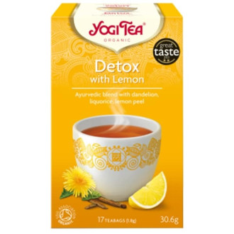 "ЙОГИ ОРГАНИК БИО Аюрведичен чай ""Детокс"" с лимон, пакетчета 17бр | YOGI ORGANIC BIO Ayurvedic tea blend ""Detox"" with lemon teabags 17s"
