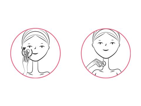 За лице, шия и околоочен контур.